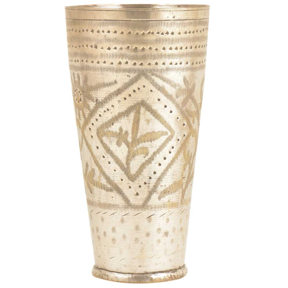 Old Diamond Leaf Design Brass Traditional Lassi Glass