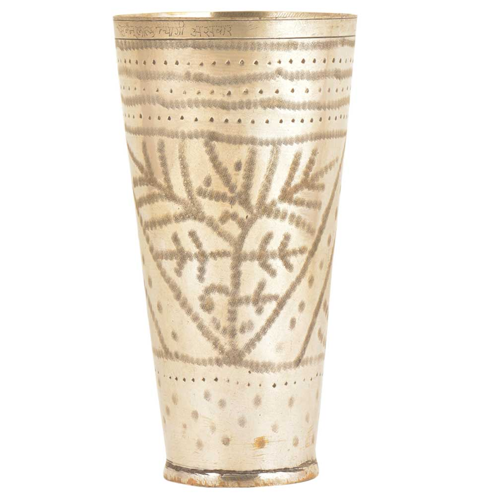 Leaves Etched Old Brass Traditional Brass Lassi Glass