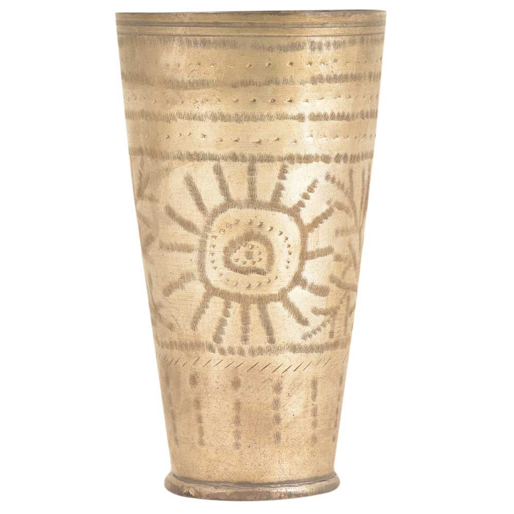 Tribal Sun Engraved Brass Vintage Pujabi Lassi Tumbler Glass