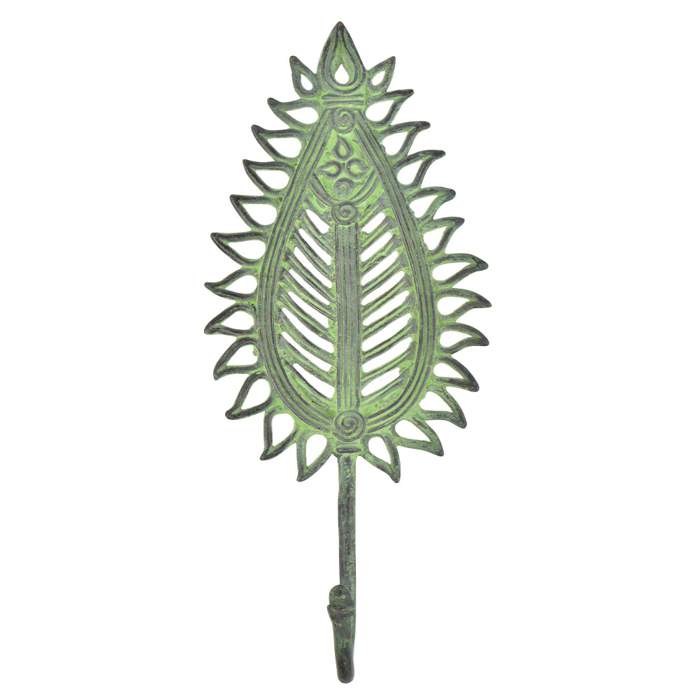 Brass leafy Flower Design Wall Hook With Patina