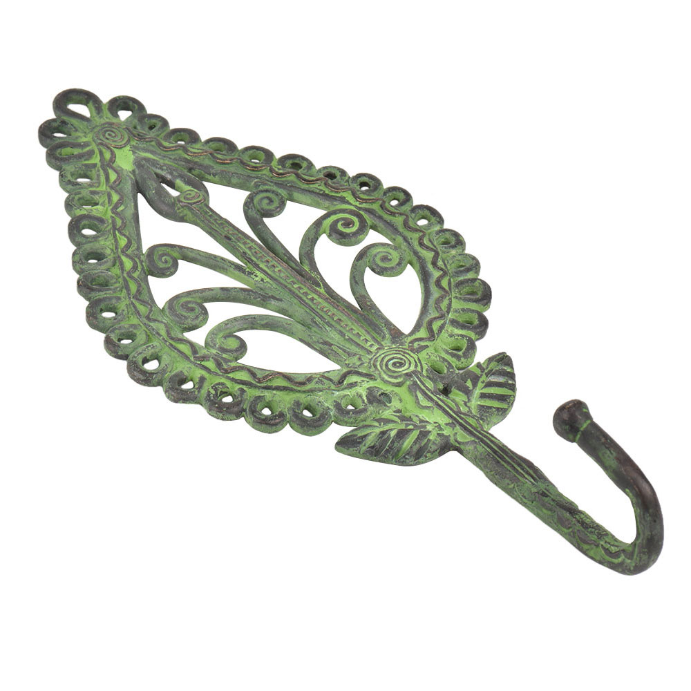 Tribal Brass Parsely Ornate Design Wall Hook With Patina