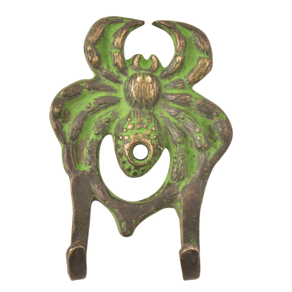 Handcrafted Brass Crab Wall Hooks With Patina