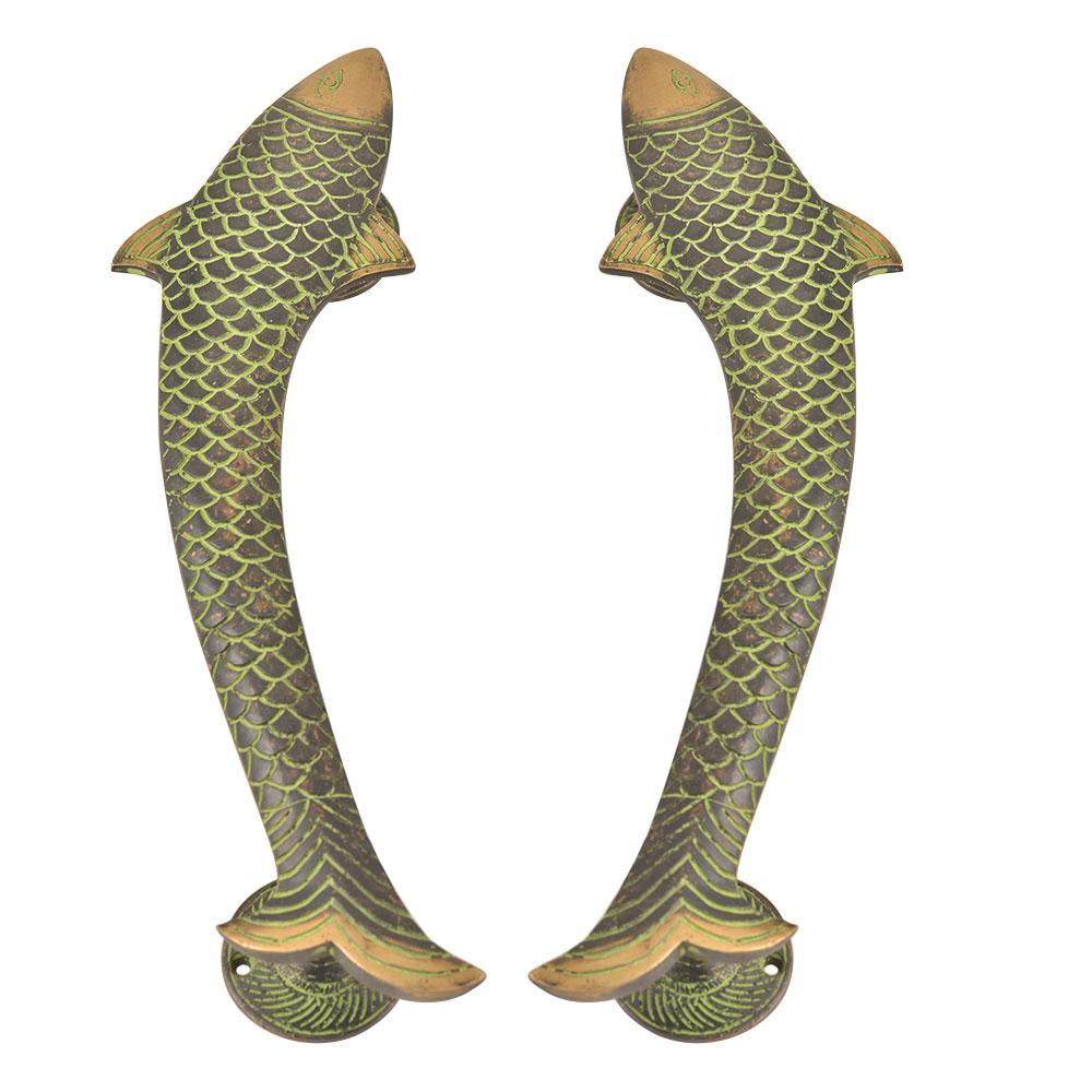 Vintage Finish Fish Shaped Brass Door Handle In Pair