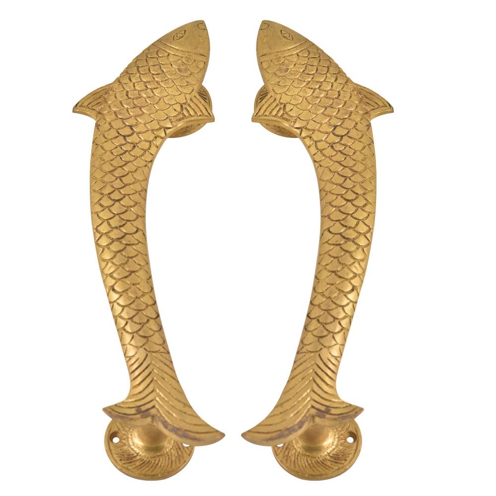 Vintage Golden Fish Shaped Brass Door Handle In Pair
