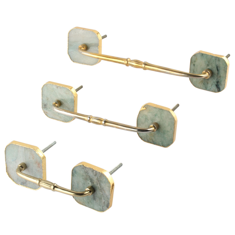 Green Square Quartz Stone Bridge Handles Online