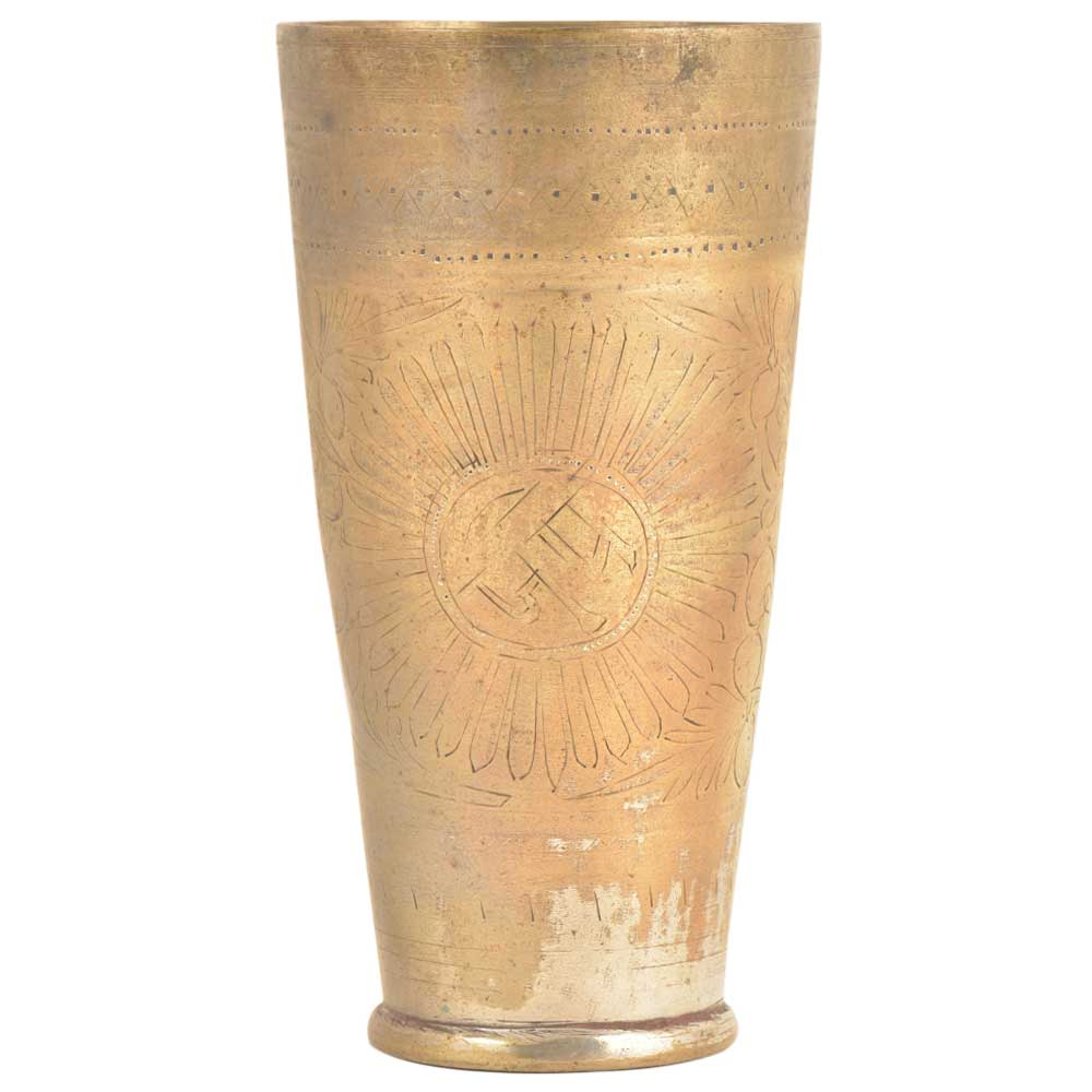 Vintage Stye Engraved Brass Punjabi Lassi Glass