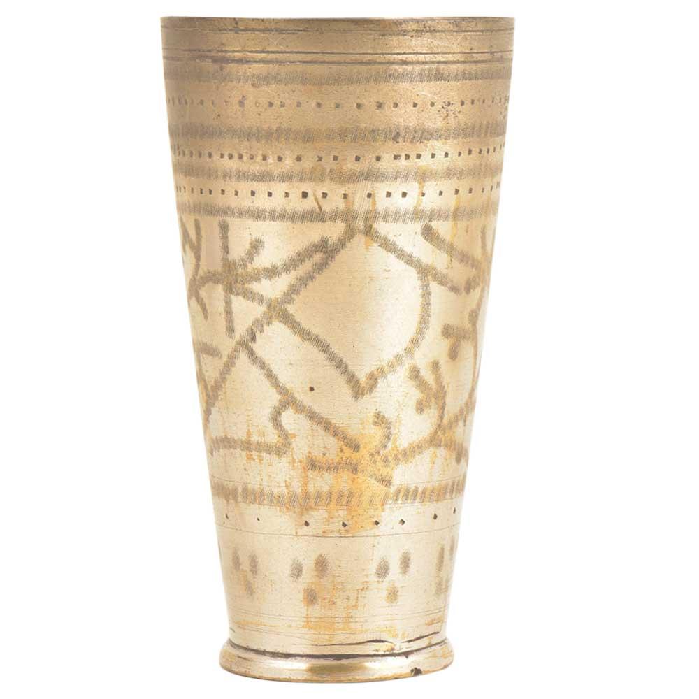 Jai Leaves Carved Old Brass Handmade Lassi Glass