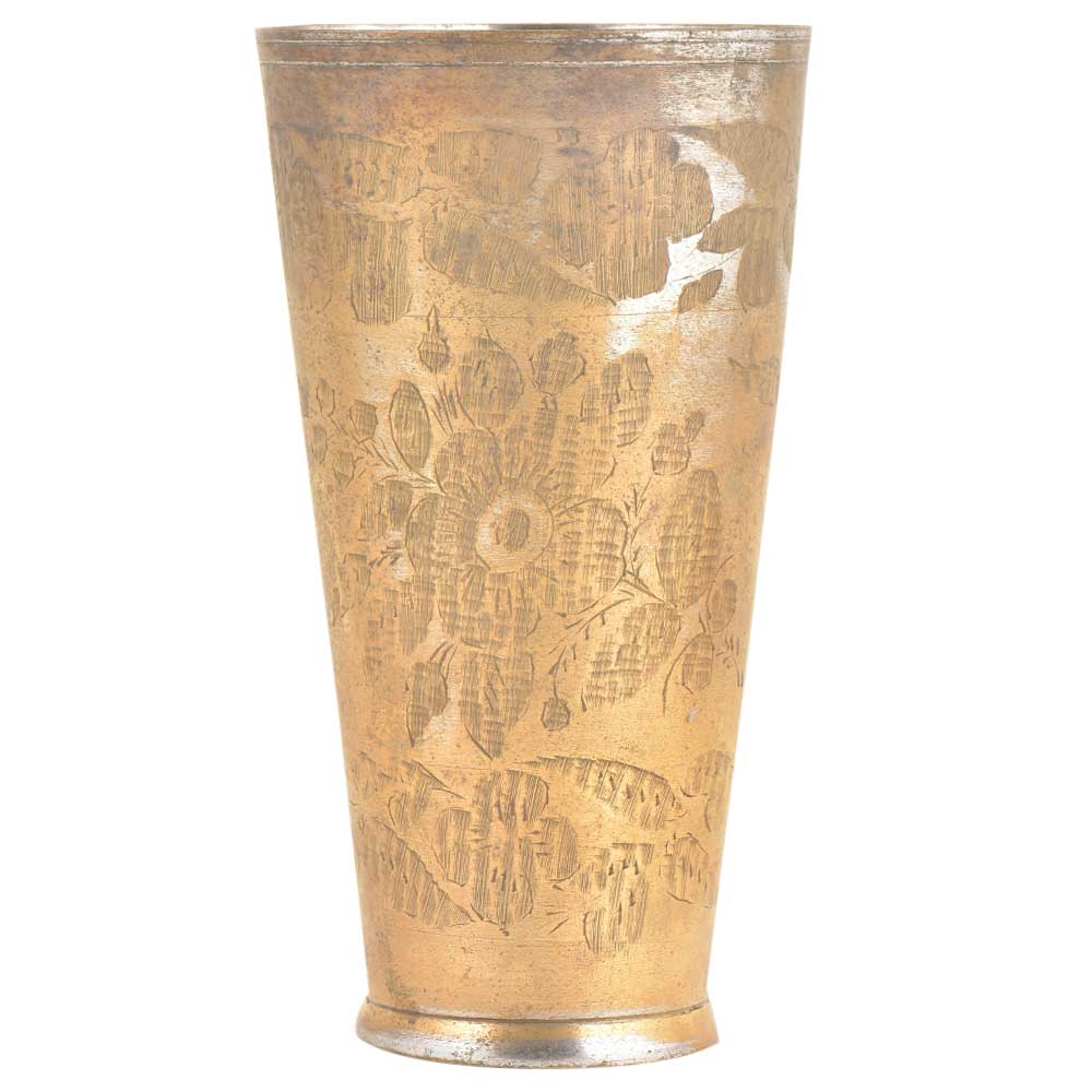 Carved Floral Bunch Of Flowers On Brass Tall Lassi Glass