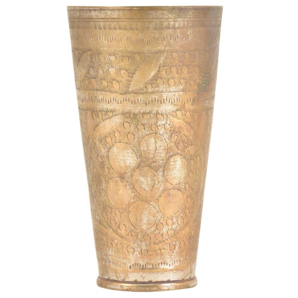 Circular Floral Pattern Brass Tall Punjabi Lassi Glass
