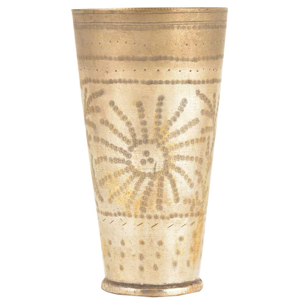 Old Tribal Sun Design Engraved Brass Tumbler Punjabi Lassi Glass