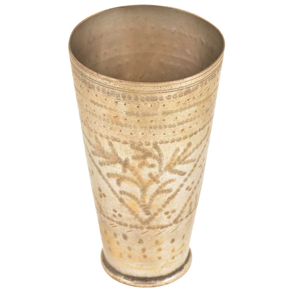 Hand Crafted Brass Glasses with Leafy Design