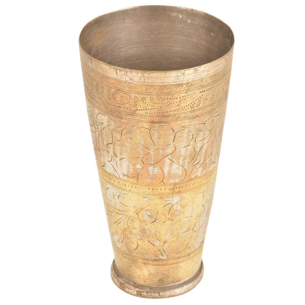 Traditional Indian Carved Design Brass Punjabi lassi Glass