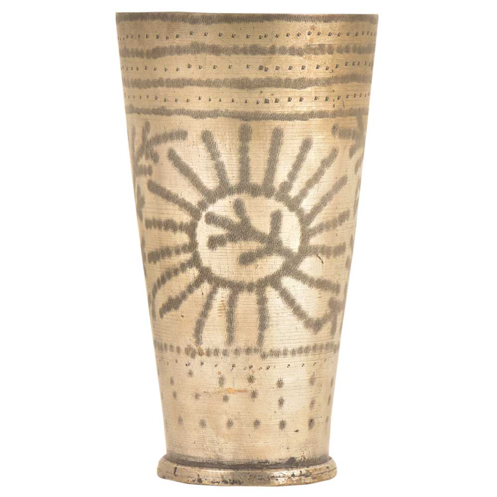 Traditional Leaf In Sun Etched Brass Tall Lassi Glass Kitchenware