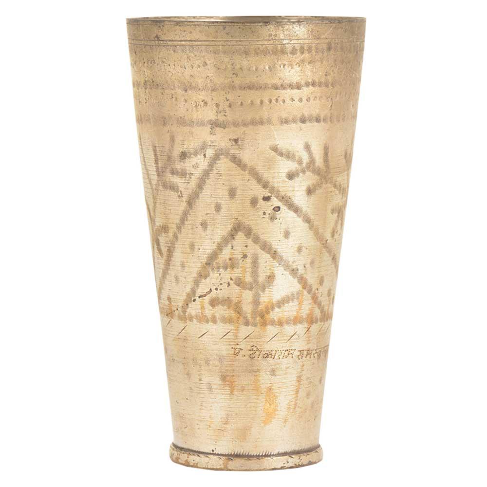 Owner Name Engraved Leaf Design Brass Punjabi Lassi Glass