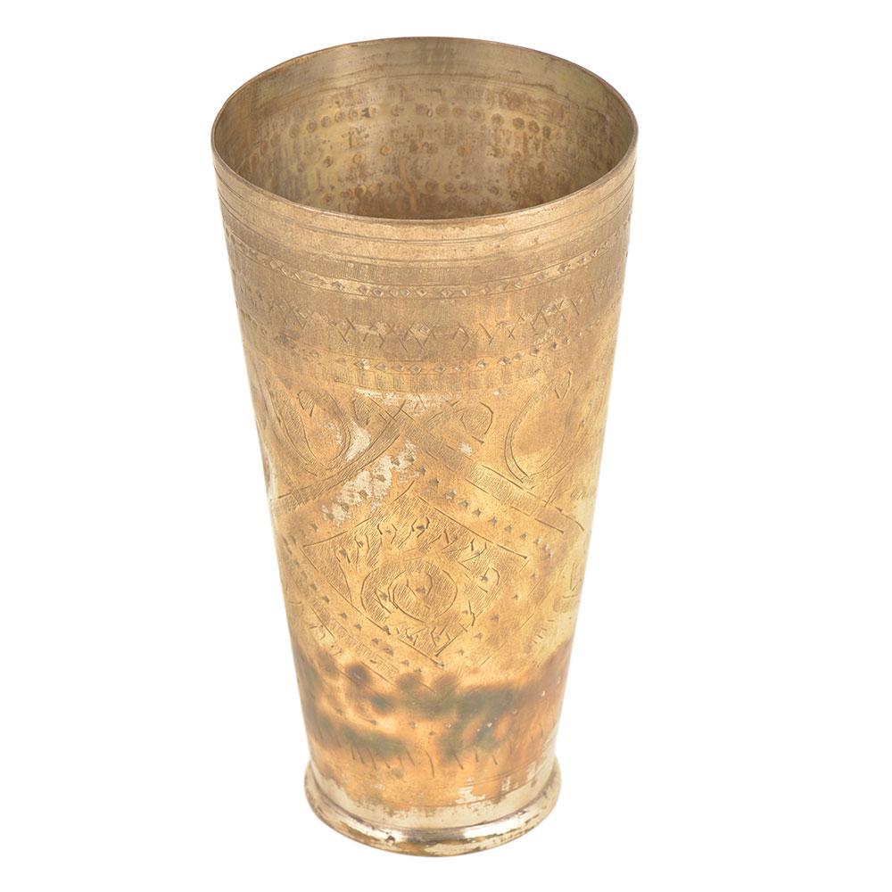 Rustic Old Brass Handmade Punjabi Lassi Glass