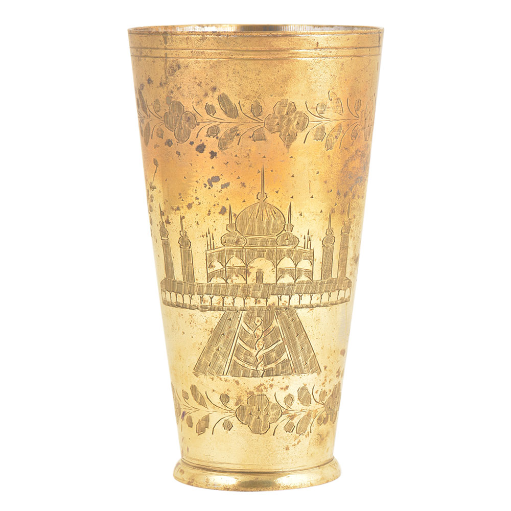 Engraved Brass Traditional Mosque Design Brass Lassi Glass Or Tumbler