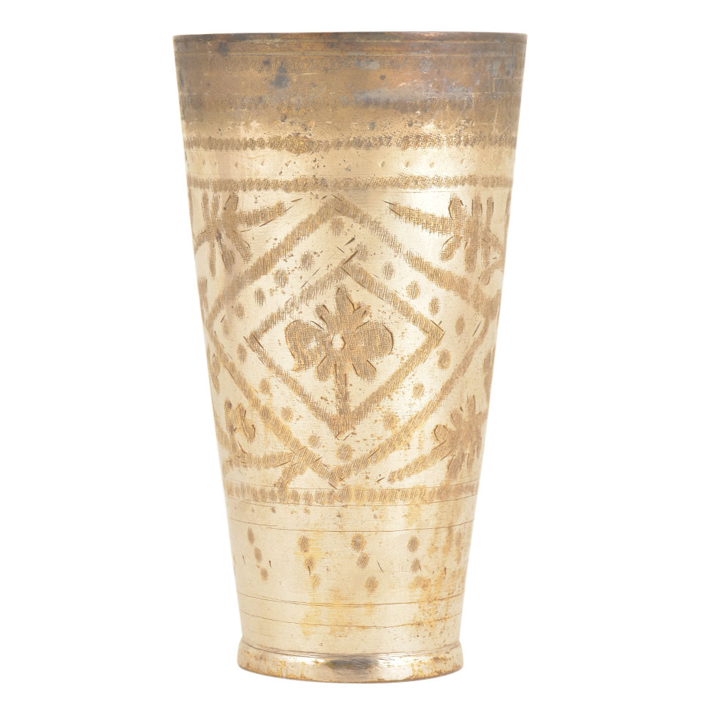 Silver Polished Floral Diamond Design Punjabi Lassi Glass