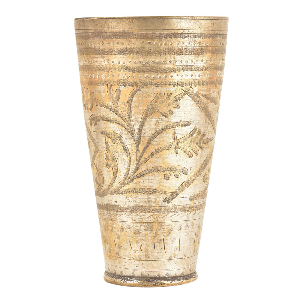 Brass Floral Border North Indian Brass Lassi Serving Glass