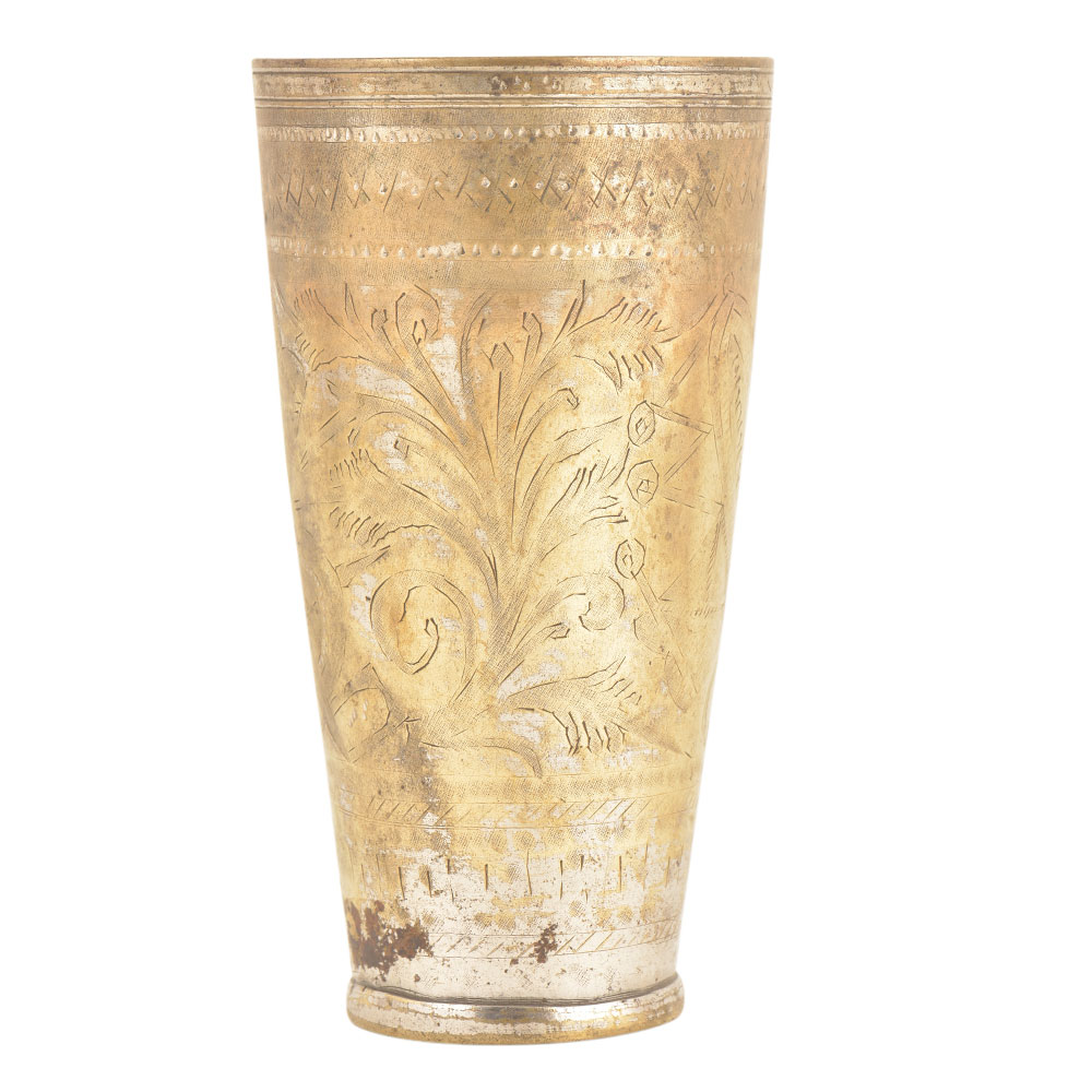 Carved Leaves Floral Design North Indian Brass Lassi Cup Glass