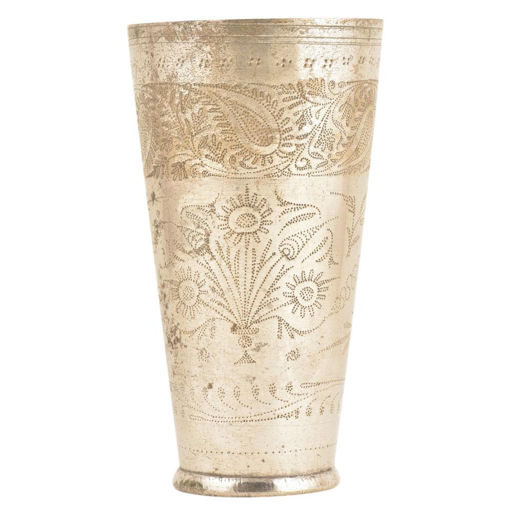 Floral Design Contemporary Style Brass Punjabi lassi Glass