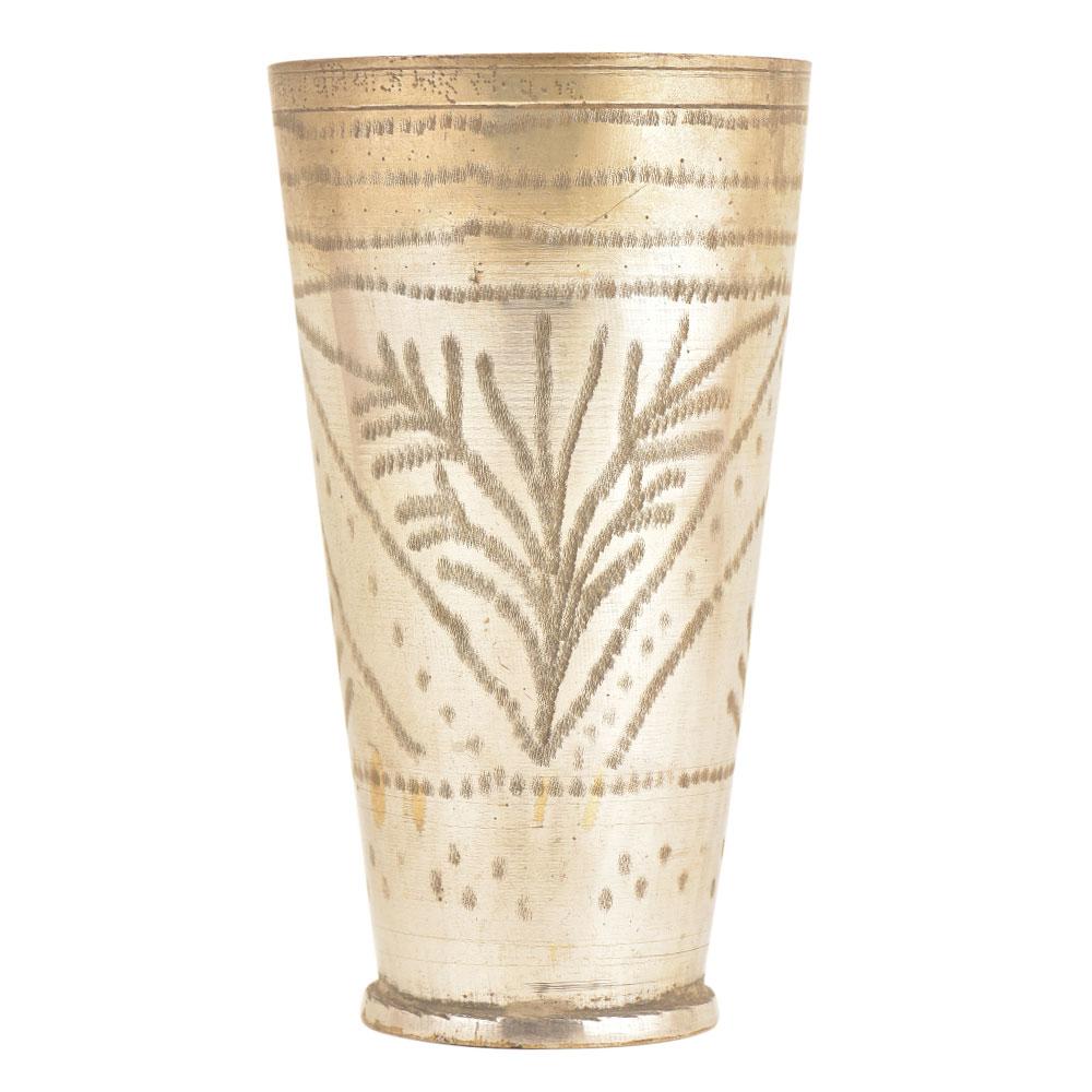 Silver Polished Brass Traditional Floral Designed Punjabi Lassi Glass