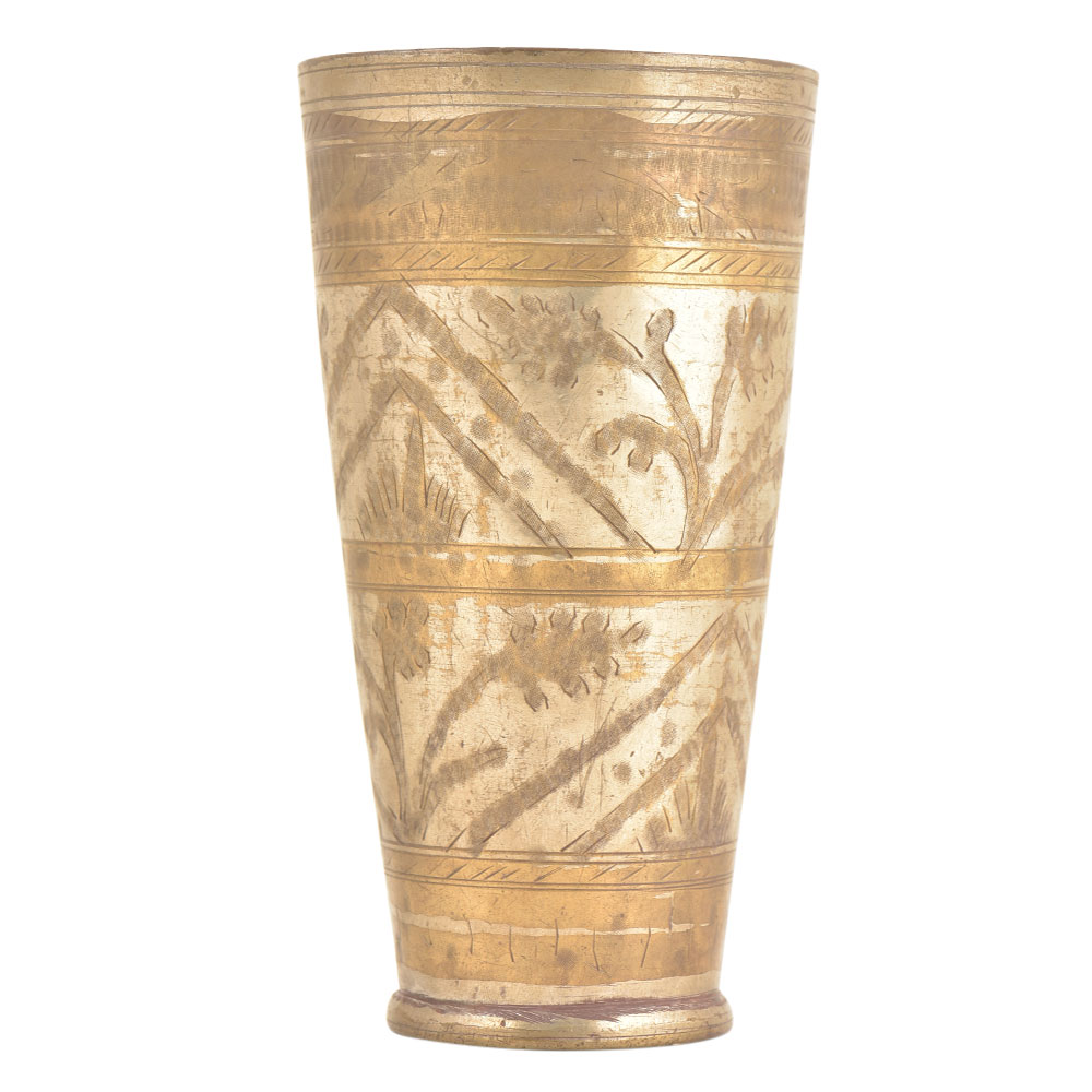 Floral Design Contemporary North Indian Cup or Brass Glass