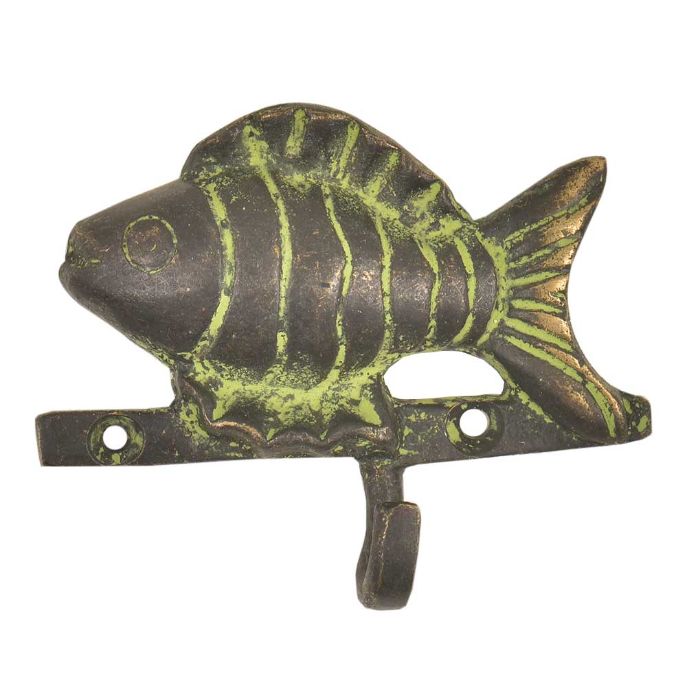 Brass Fish Wall Coat Hook With Patina