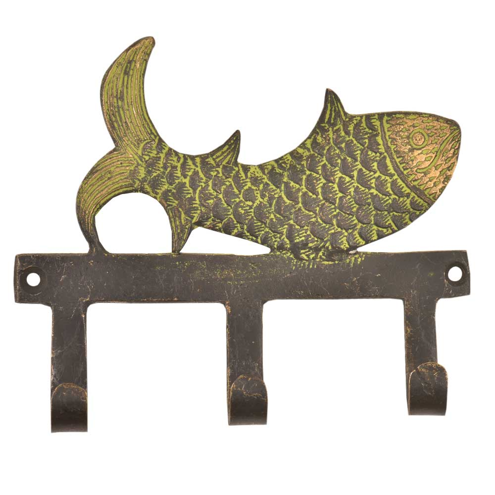 Handmade Brass Fish Three Wall Hooks