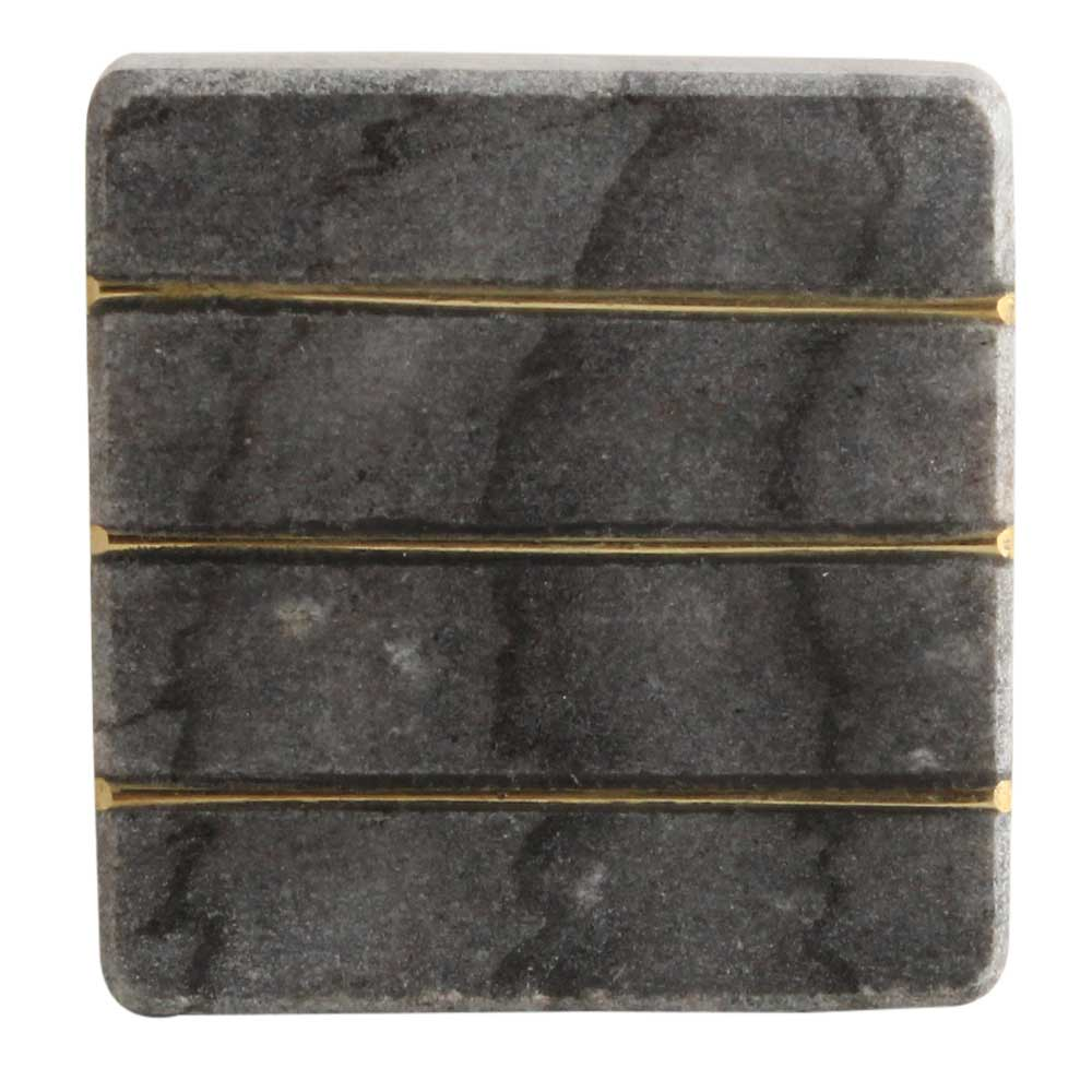 Grey Stone Square Gold Line Cabinet Knobs Online