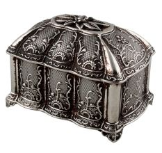 Floral Octagonal Metal Small Jewellery Box