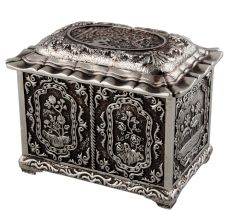 Metal Floral Square Storage Box