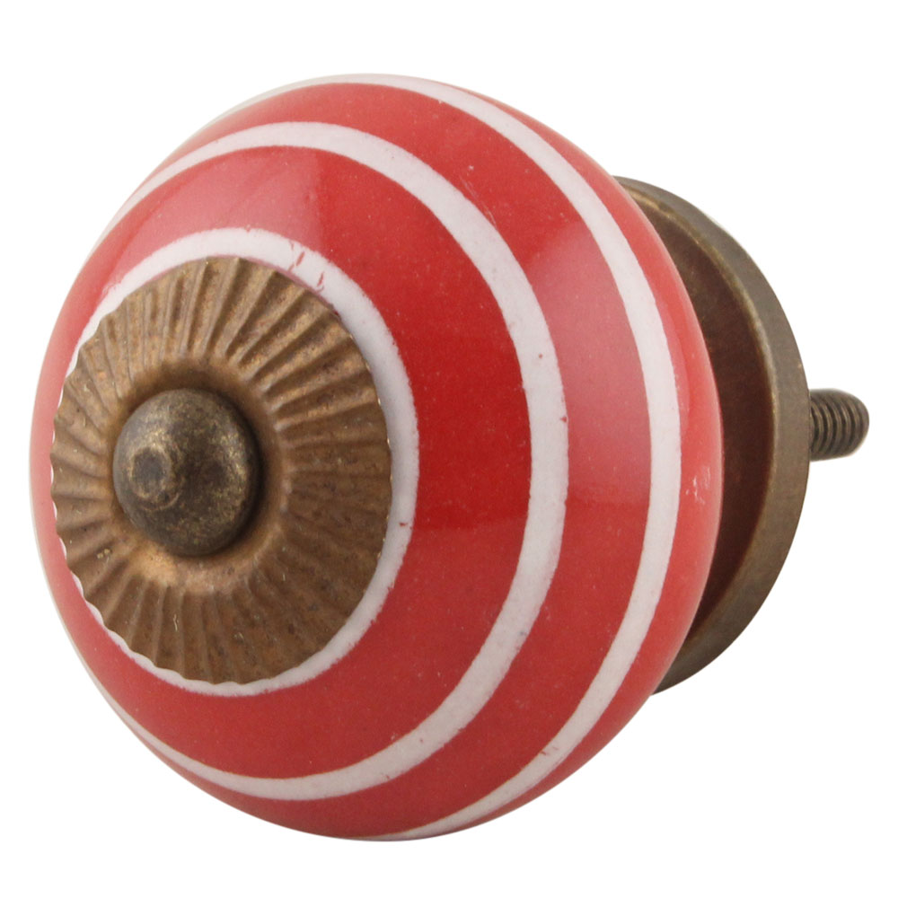 Red White Stripes Knob