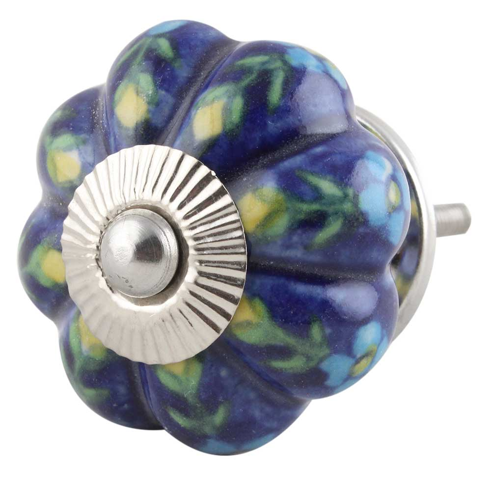 Dark Blue Floral Melon Knob