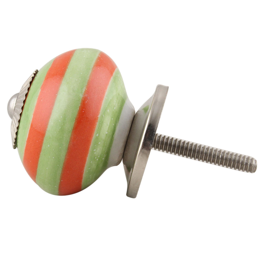 Green Orange Striped Knob