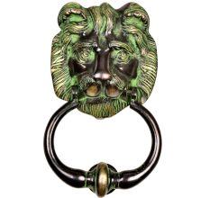 Hand Crafted Brass Lion Head Door Knocker Ring With Patina
