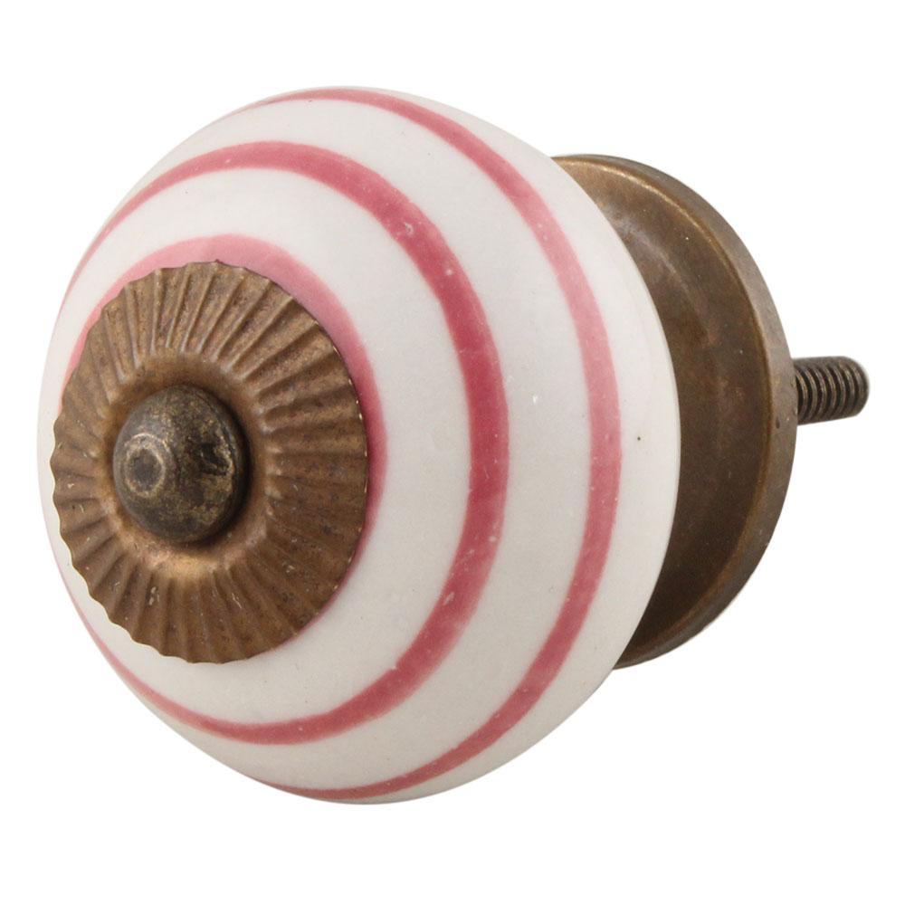 White Knob Pink Striped