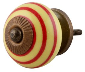 Yellow Red Striped Knob