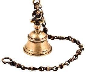 Traditional Brass Temple Bell With Lord Buddha Statue With Chain