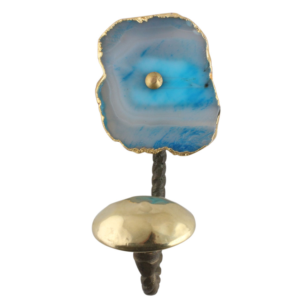 Turquoise Agate Stone Hook In Antique Fitting