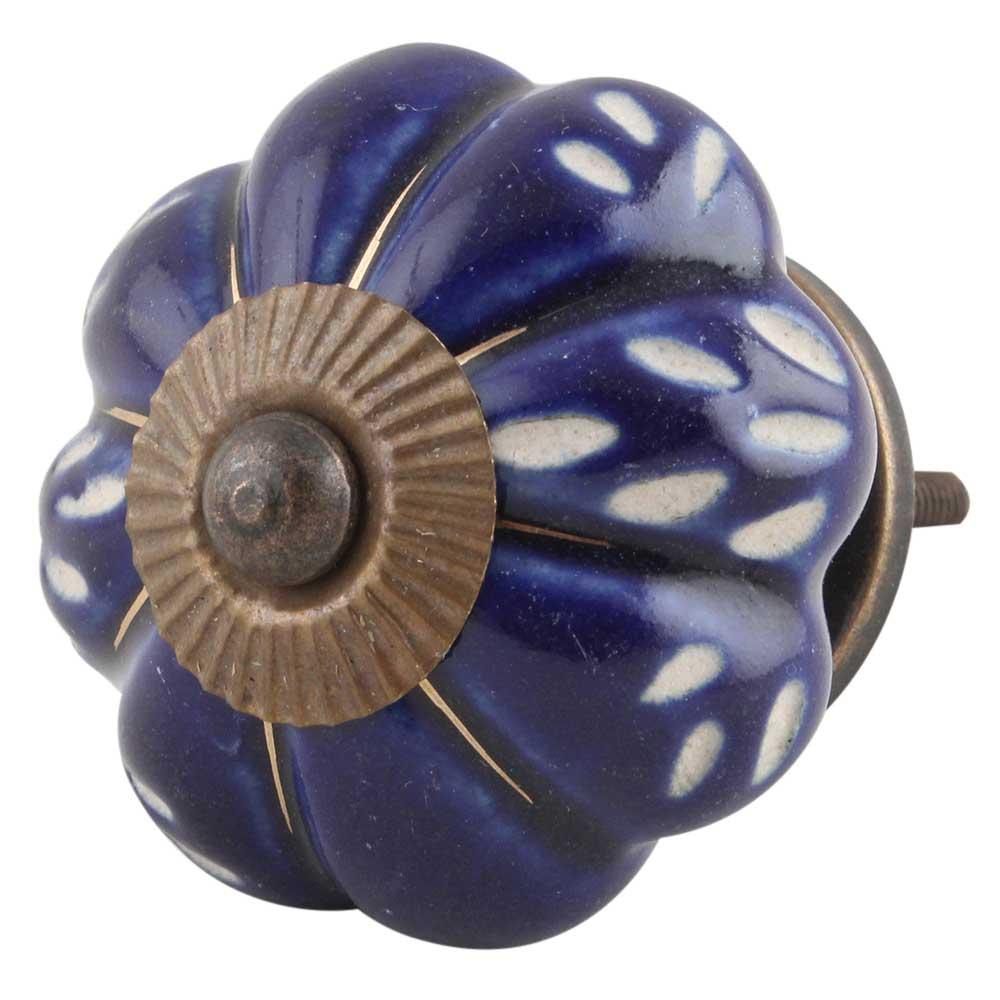 Royal Blue Engraved Melon Knob