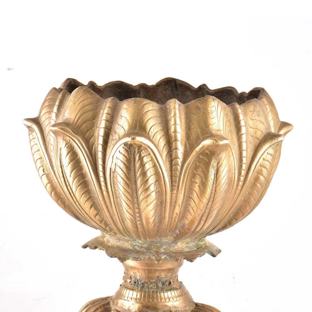 Brass vintage Floral Planter On Pedestal