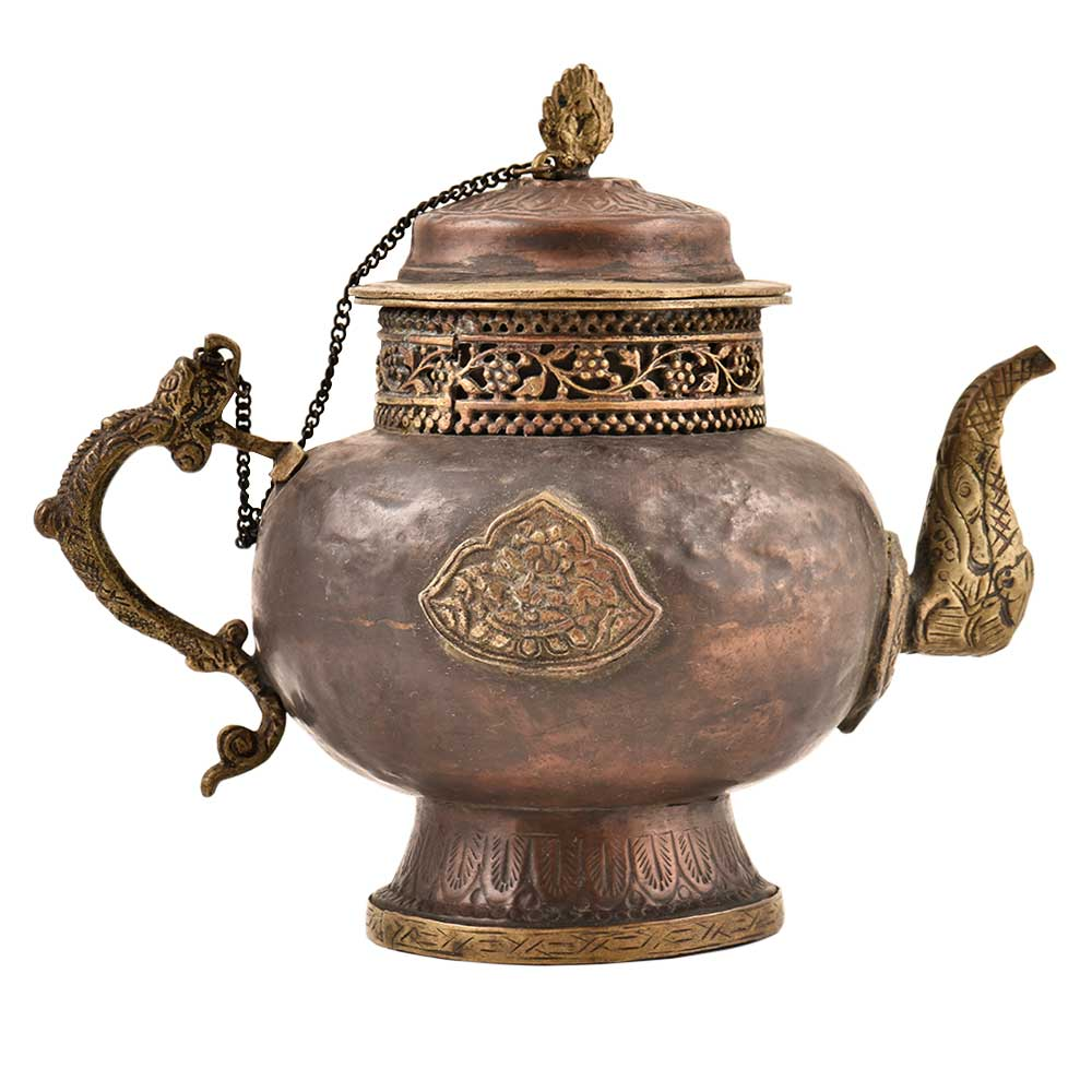 Handmade Copper Teapot With Embossed Design & Chain