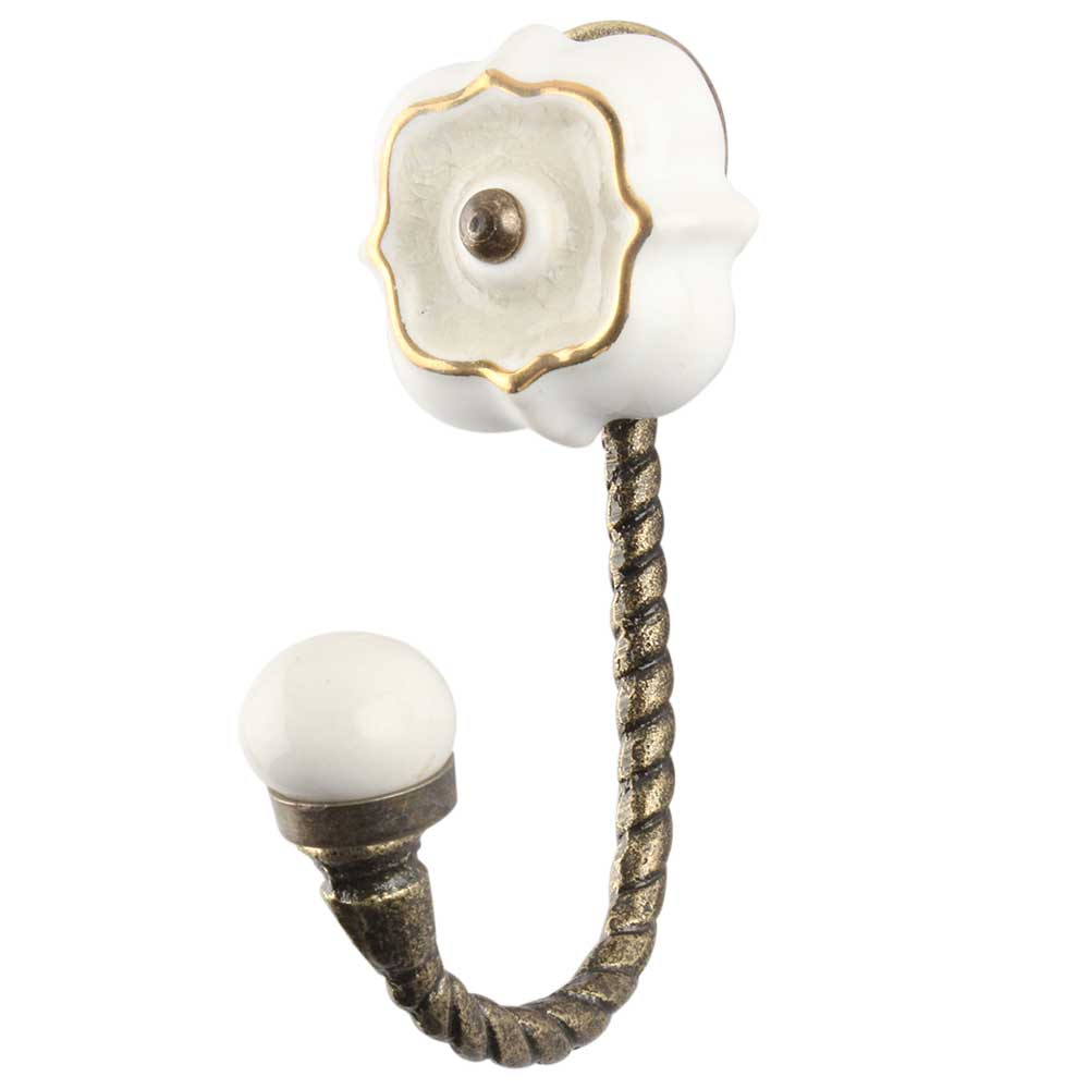 Cream Solid Gold Line Ceramic  Hook In Antique Fitting