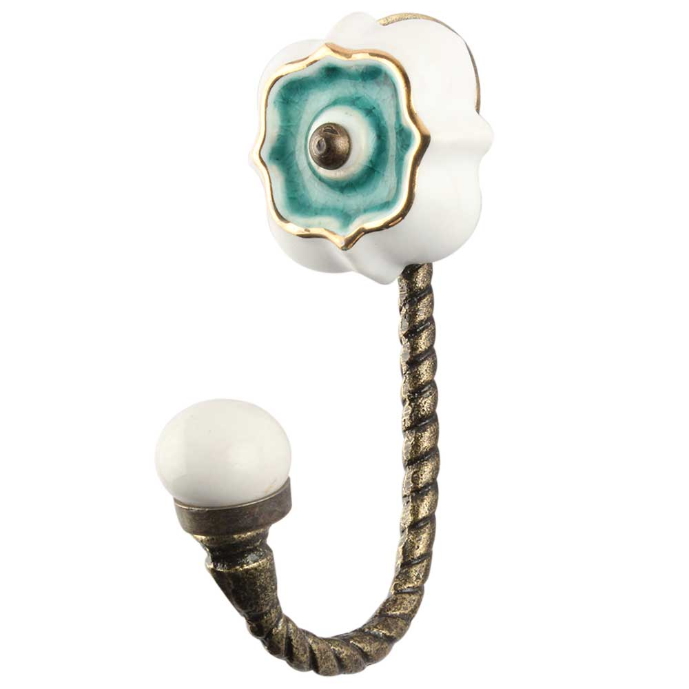 Sea Green Solid Gold Line Ceramic Hook In Antique Fitting