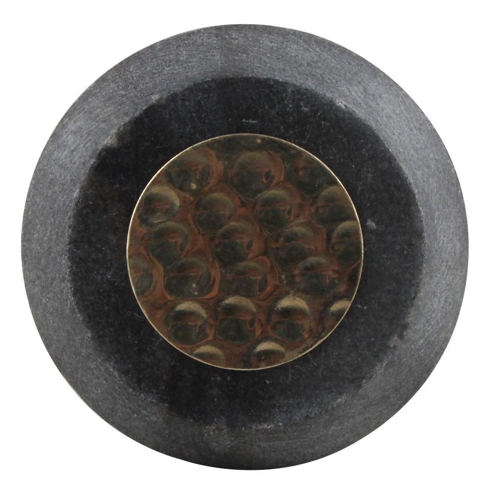 Grey Electrum Plate Round Stone Cabinet Knobs