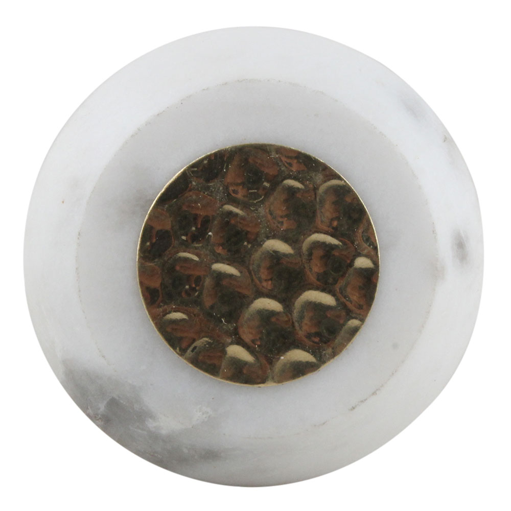 White Electrum Plate Round Stone Cabinet Knobs