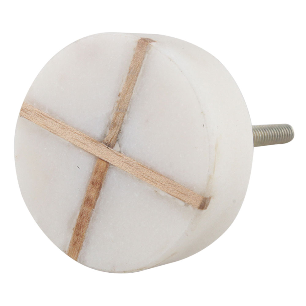 White Round Wooden Cross Stone Dresser Knobs