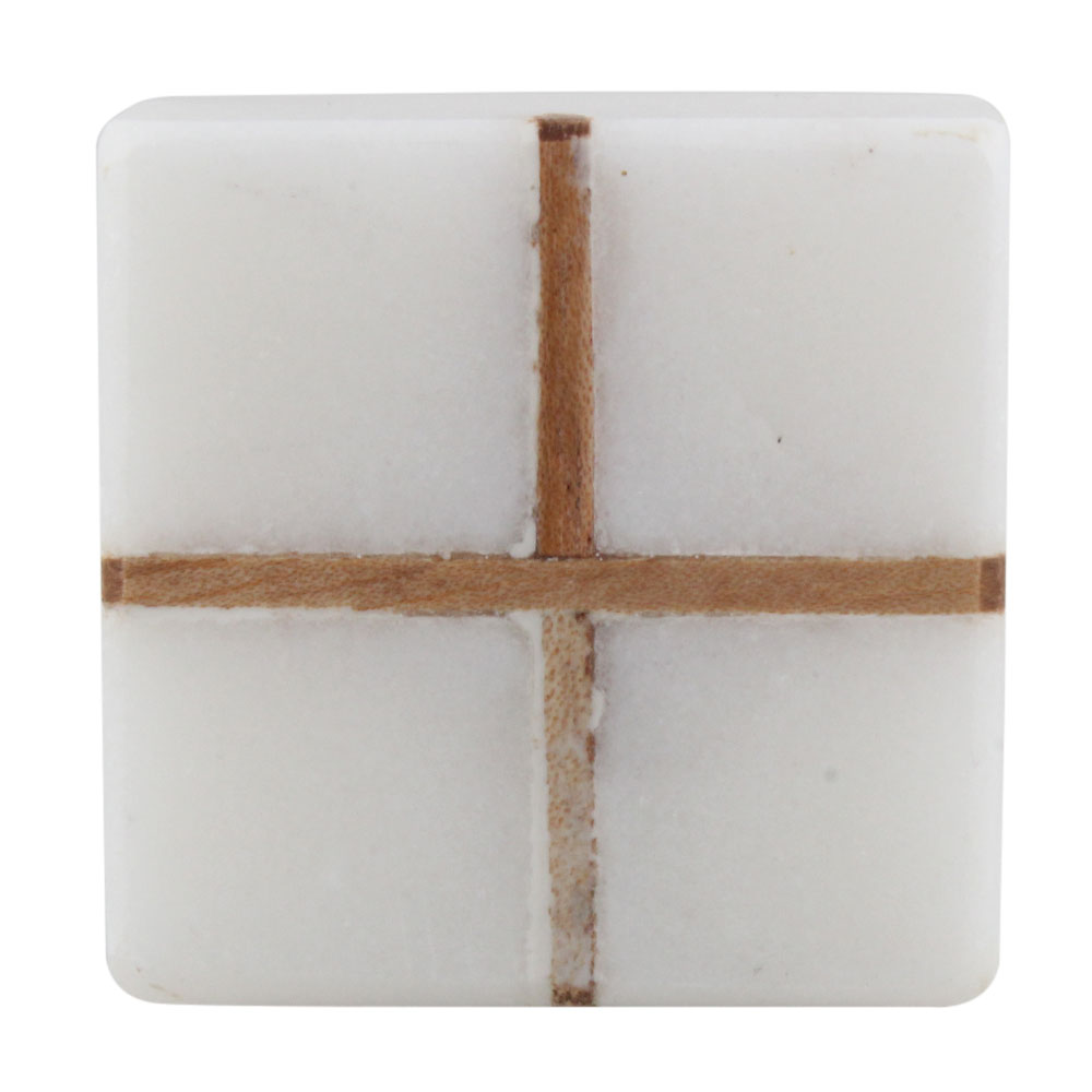 White Square Wooden Cross Stone Dresser Knobs