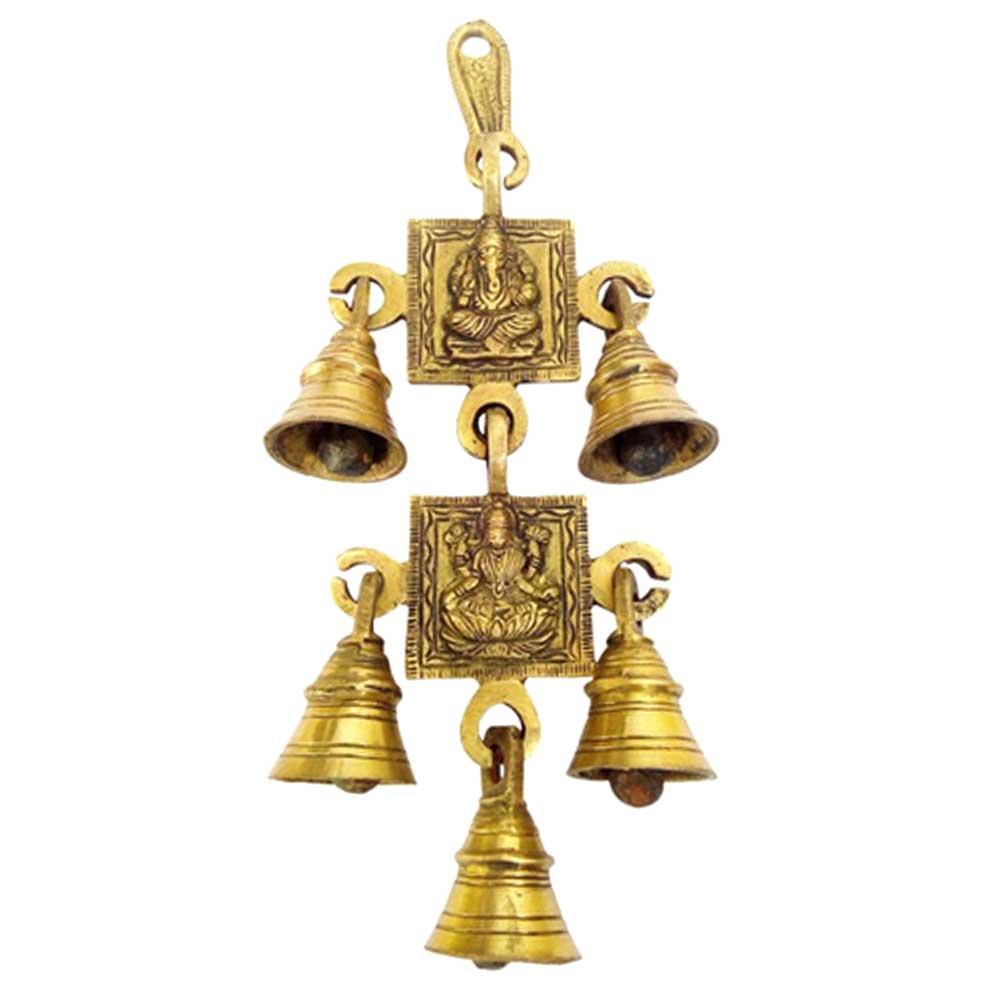 Brass Lakshmi Ganesh Hanging Bell