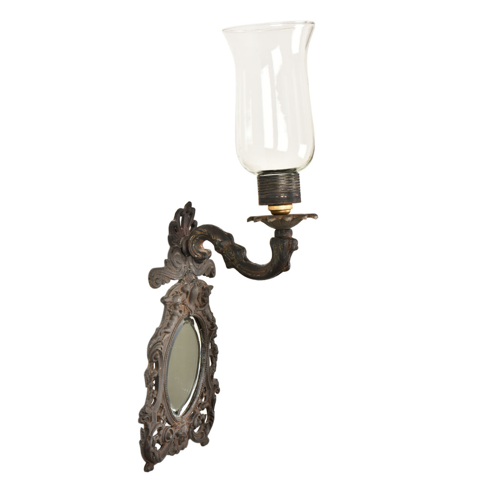 Indian Engraved Frame Glass Mirror with Lamp